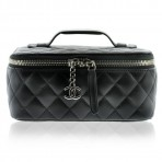 Authentic Chanel SHW Black Lambskin Leather Small Jewelry Case