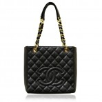 Authentic Chanel Black Caviar GHW Petite Shopping Tote Bag in Box