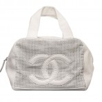 Authentic Chanel White Small Caviar Leather Bowler Bag