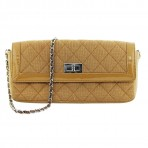 Authentic Chanel Canvas/ Patent Leather Tan Reissue Clutch