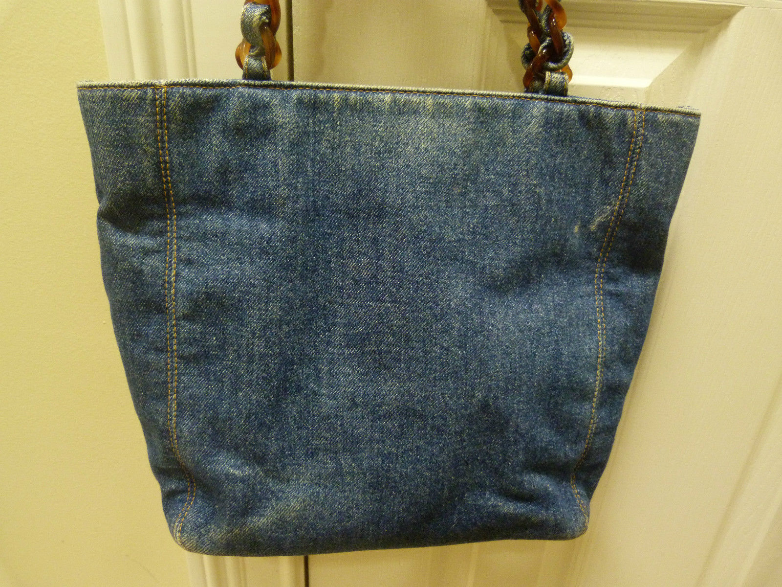 Boca Raton Shopping >> Authentic Chanel Denim Tote Bag Purse with Tortoise Shell Handles