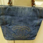 Authentic Chanel Denim Tote Bag Purse with Tortoise Shell Handles