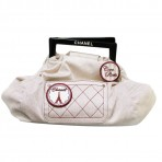 Authentic Chanel Striped Canvas/ Resin Coco Paris Tote Bag with Removable Pins