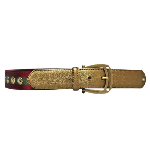 fe2bfd667c6 Authentic Gucci Bronze Colored Leather Belt with Red Green Stripe