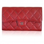 Authentic Chanel Red Caviar Wallet Clutch in Box