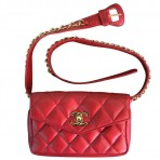 Chanel Red Quilted Lambskin GHW Vintage Gold Chain Waist Bag