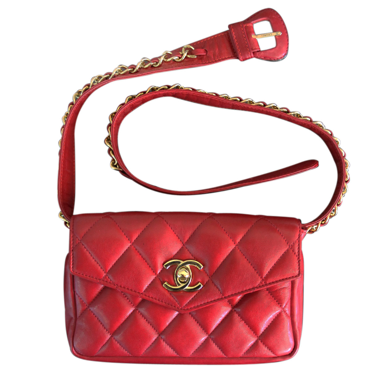 27db045132ad99 Chanel Red Quilted Lambskin GHW Vintage Gold Chain Waist Bag
