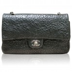Authentic Chanel Black Lambskin Camellia Flower Flap Bag