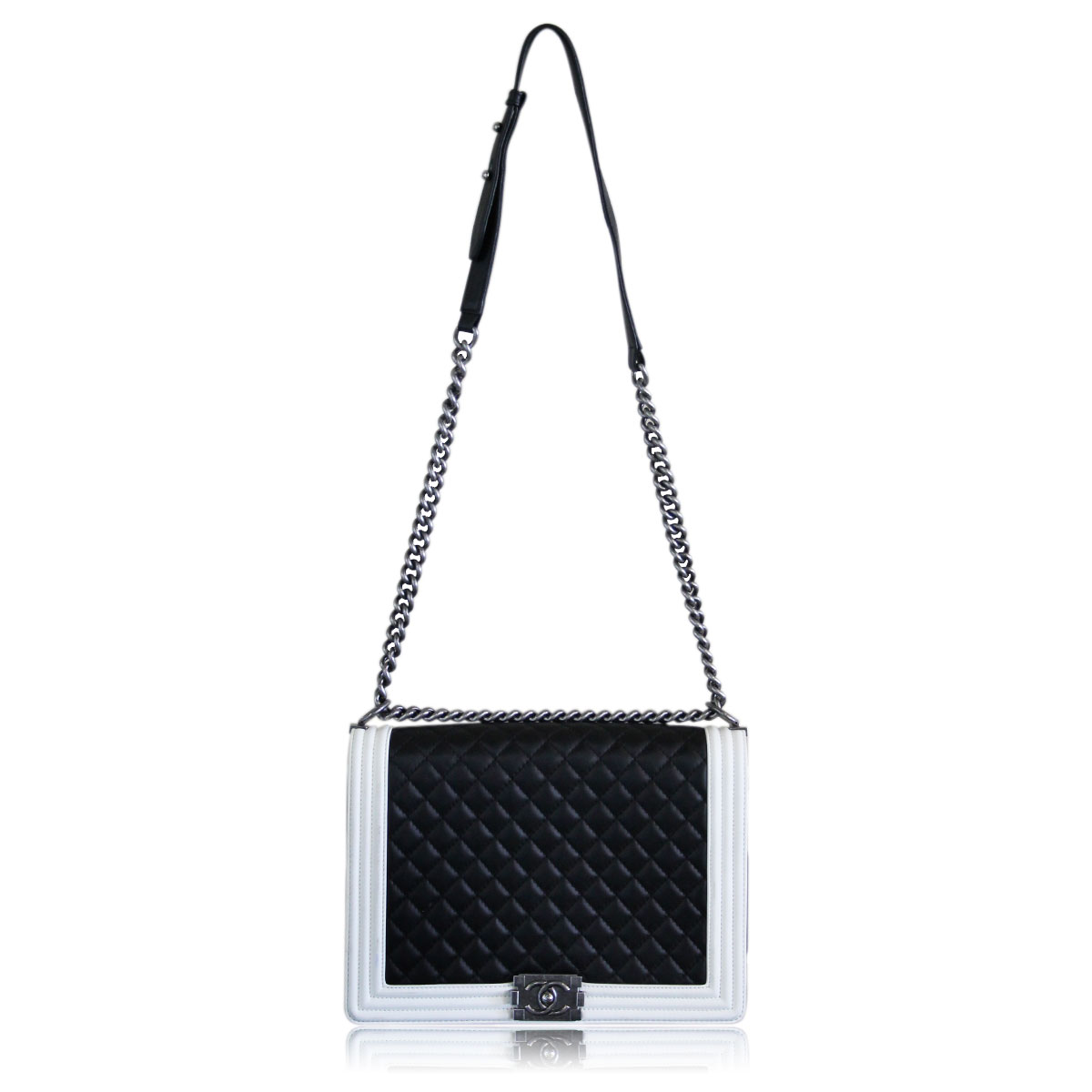 6f0059d1733a Chanel Black White Large Quilted Lambskin Boy Bag Thick Ruthenium
