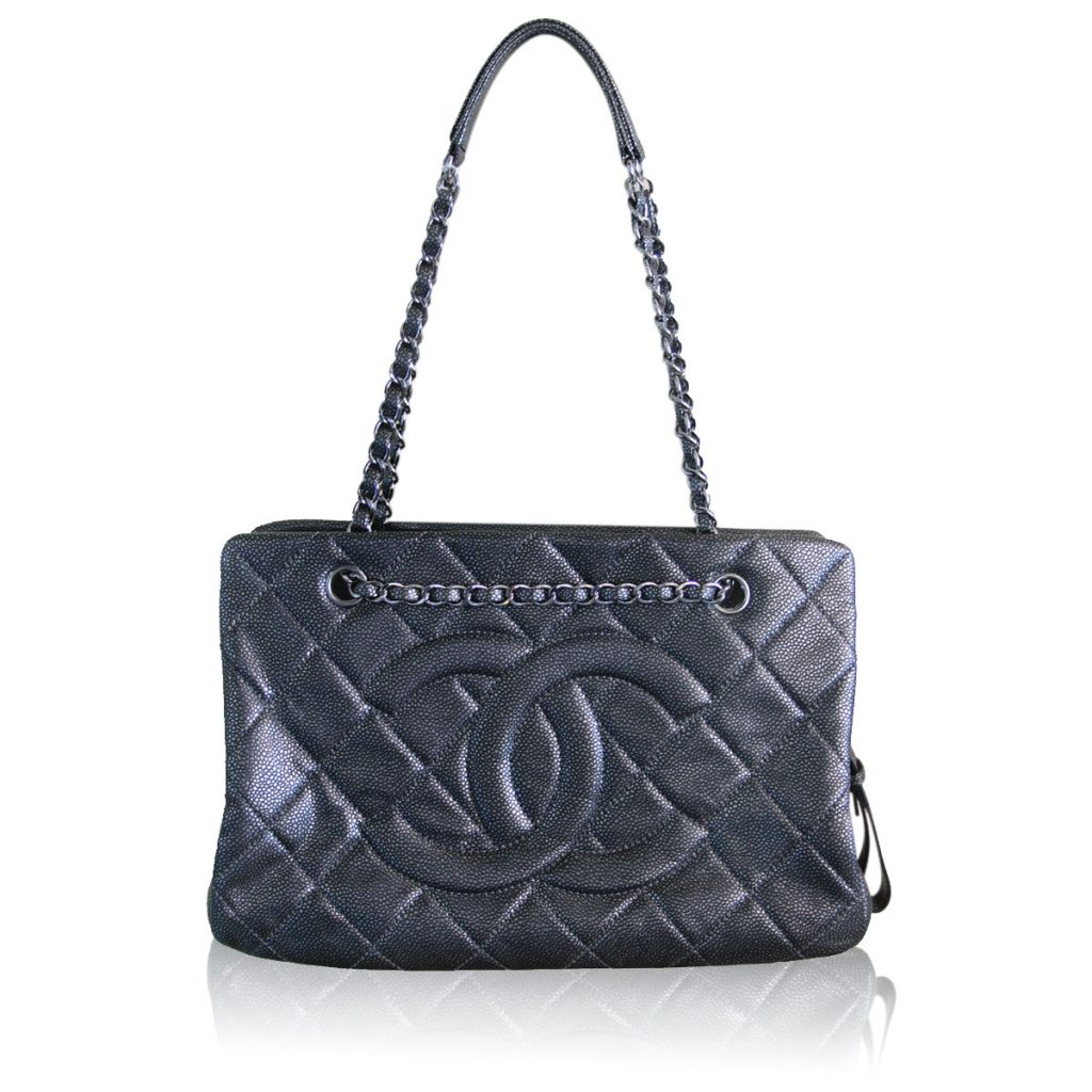 chanel metallic quilted medium grand shopper tote bag. Black Bedroom Furniture Sets. Home Design Ideas