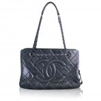 CHANEL Metallic Quilted Medium Grand Shopper Tote Bag