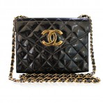 Chanel Patent Leather GHW Gold Chain Crossbody Vintage Handbag Purse