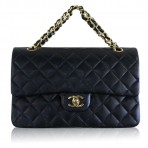CHANEL Black Lambskin Double Flap GHW Vintage 10″ Bag Purse