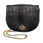 CHANEL Rare Vintage Black Satin Flap Bag Gripoix Closure Bag