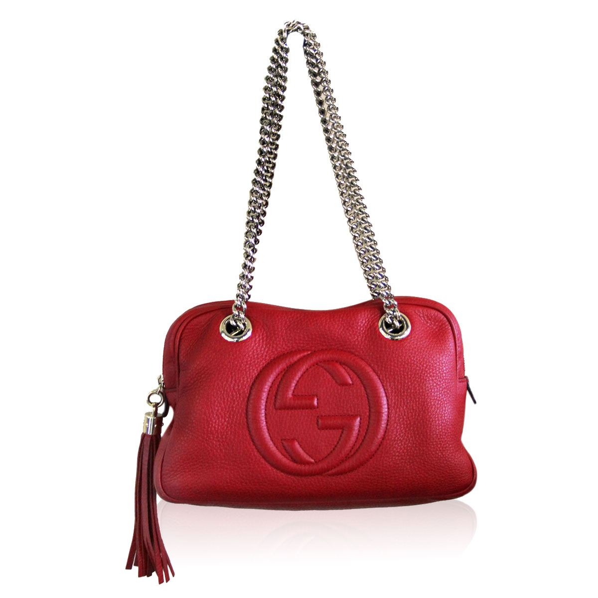 91a838dd8565 Gucci Red Pebbled Leather SHW Chain Soho Shoulder Bag