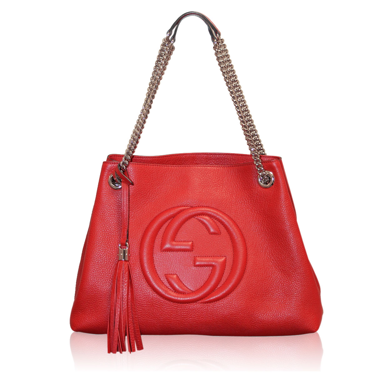 b49b09552d9 Gucci Red Leather Soho SHW Tote Chain Shoulder Bag Purse