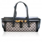 Gucci Bamboo Black Monogram Leather Bullet Shoulder Bag Purse
