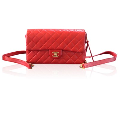 Chanel Red Vintage Lambskin Rare No. 3 GHW Backpack