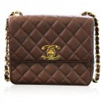 Chanel Brown Caviar GHW Vintage Quilted Leather Crossbody Shoulder Bag