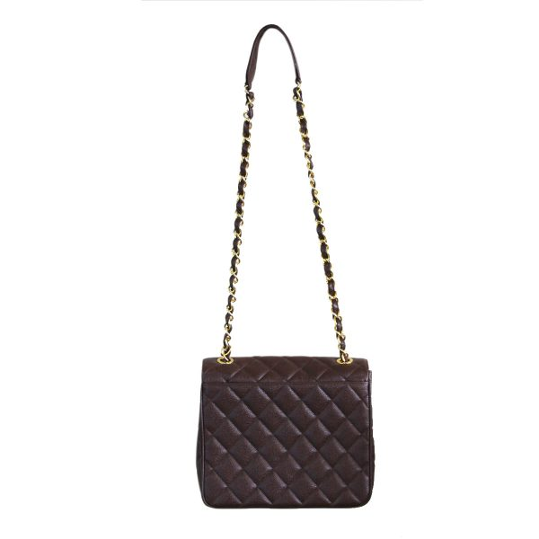 264d124a26aad9 Chanel Brown Caviar GHW Vintage Quilted Leather Crossbody Shoulder Bag