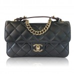 Authentic CHANEL Black Lambskin Cutout Thick Gold Hardware Flap Bag