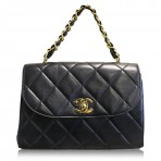 Chanel Vintage Black Lambskin GHW No. 3 Handbag