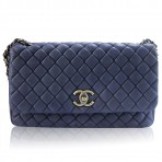 Authentic CHANEL No. 17 Navy Blue Suede & Lambskin Ruthenium Chain Flap Bag