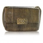 Authentic CHANEL Limited Edition Gold Python GHW Shoulder Bag