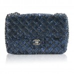 Authentic CHANEL No. 16 Navy Blue Sequin Flap Bag