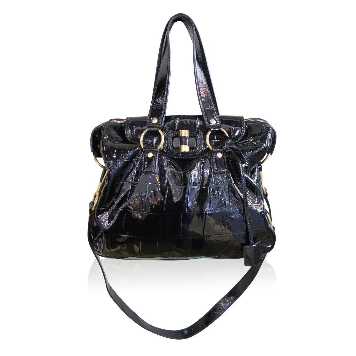 Ysl Yves Saint Laurent Patent Black Gold Muse Handbag
