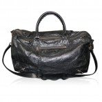 Balenciaga 24 Hour Voyage Classic Black Lambskin Unisex Travel Bag