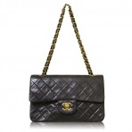 Chanel Vintage Small Double Flap Black Lambskin GHW Shoulder Bag Purse
