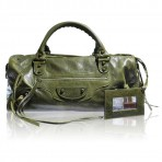 Balenciaga Classic Twiggy Dark Green Vintage Lambskin Shoulder Bag Purse