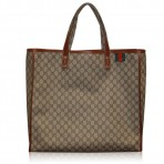Gucci Large Monogram Coated Canvas Tote Travel Bag
