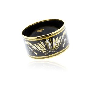 You are viewing this Hermes Enamel Extra Wide Black Gold & Brown Bangle!