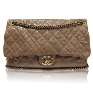 20f264665bd0 Chanel Brown Distressed Quilted Leather Easy Zip No. 16 Flap Bag