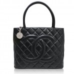 Authentic Chanel Lambskin Medallion SHW Tote Bag