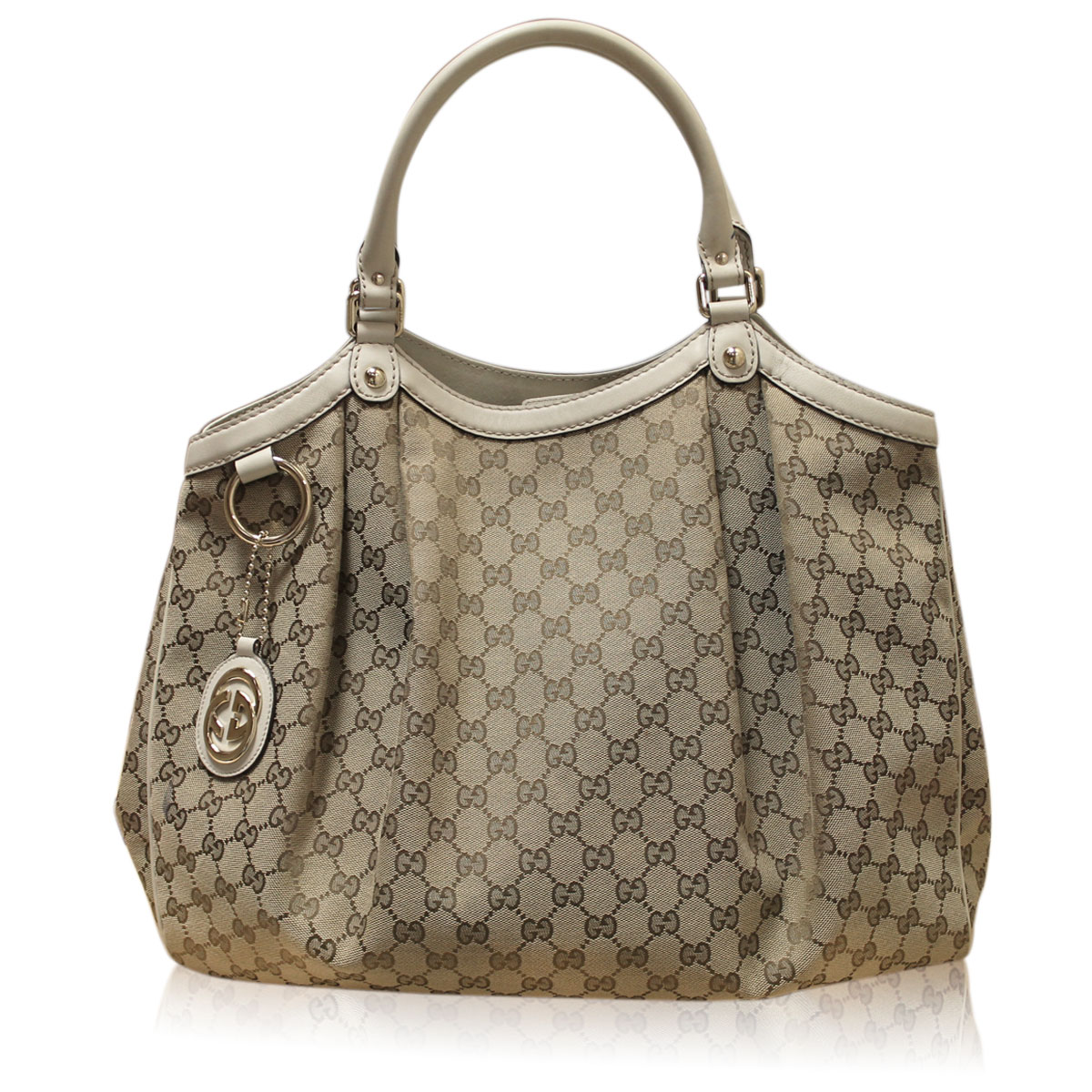 b34ed2a05639 Gucci Sukey Monogram Canvas Off White Leather Large Tote