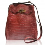 Hermes Kelly Sport MM Burgundy Crocodile Messenger Bag