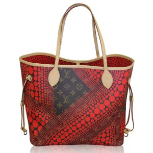 Louis Vuitton Yayoi Kusama Neverfull MM Pumpkin Red Waves Tote
