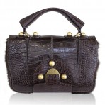 Fendi Rare Secret Code 8BN199 Brown Alligator/Mink Satchel