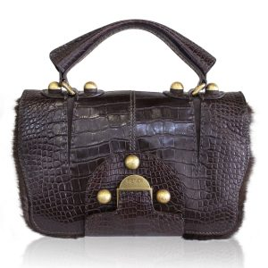Rare Fendi Secret Code Boca Raton Brown Alligator and Mink Satchel Bag
