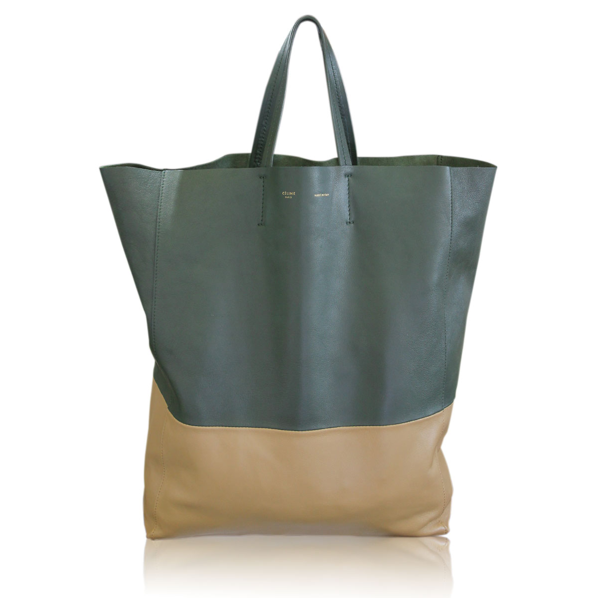 Sale! Celine Vertical Bi-Cabas Green Khaki Two Tone Tote Bag out of ... 7175c1ed50766