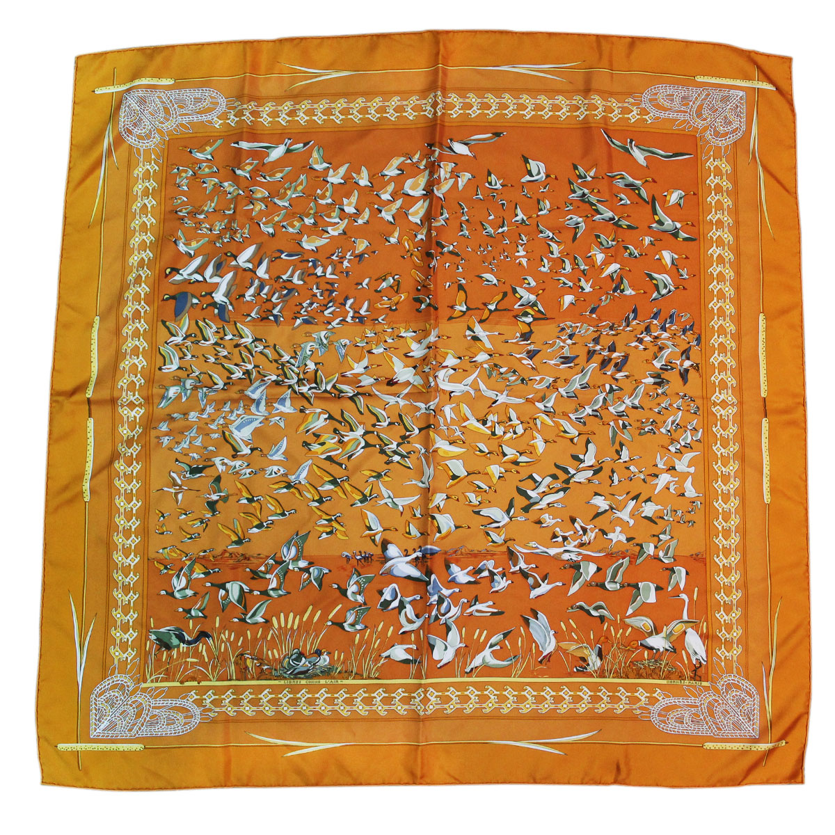 hermes 100 silk orange libres comme l 39 air geese scarf. Black Bedroom Furniture Sets. Home Design Ideas
