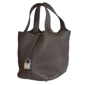 Hermes Picotin Lock MM Clemence Leather Brown Handbag