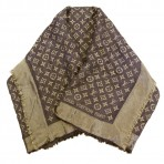 Louis Vuitton Monogram Shine Shawl Brown Gold Scarf