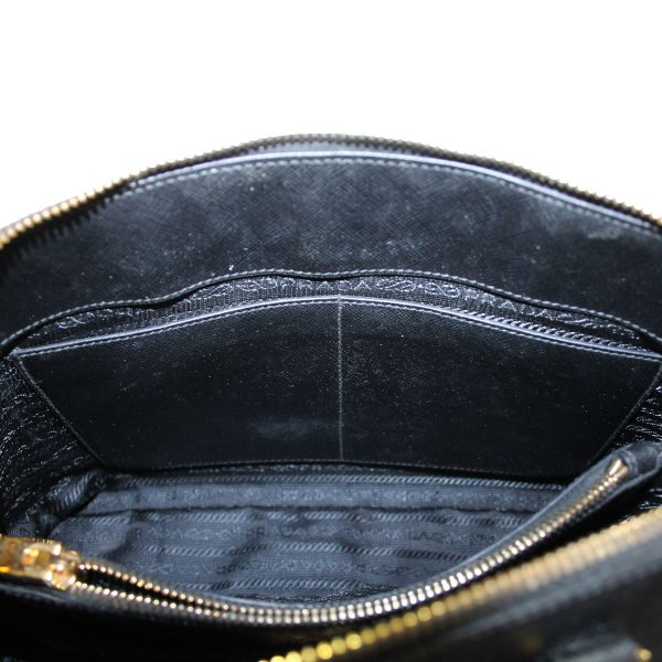 61189cc42c1f Prada Saffiano Black Leather Double Zip-Top Tote Bag
