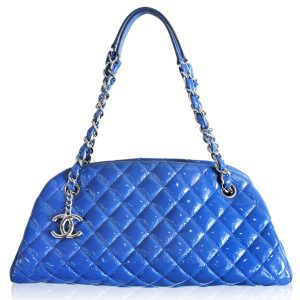 Chanel blue quilted patent leather Just Mademoiselle bowler bag 2013