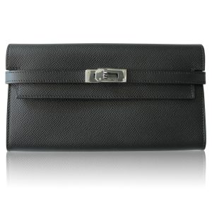 Hermes Black Epsom Kelly Long Wallet Boca Raton