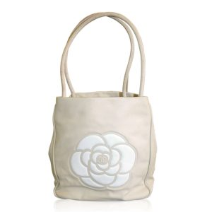 Chanel tan and white Camillia tote boca raton